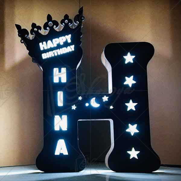 led letter h, alphabet h wooden led lighting